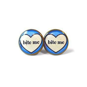 DCCKHD9 Bite me. Conversation Heart Stud Earrings - Anti Valentine's Day Jewelry - Soft Grunge