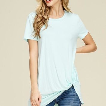 Front Knot Short Sleeve Top