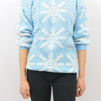 Vintage Powder Blue Snowflake Sweater, Kawaii, Size XS-Small, Pastel Goth, Quirky, Hipster, Deadstock