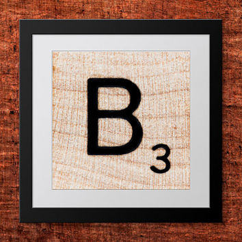 DIY Wall Art, Letter B-Personalized Word Art, Instant Download, Printable Letter, Scrabble Wall Art, Alphabet Art, Downloadable Image, Print