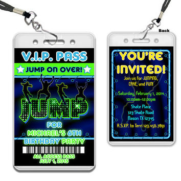 Boys VIP Pass JUMP Invitation - Trampoline Birthday Invitations - Trampoline Park - Bouncey House - Jump Birthday Invite - Neon Lanyard VIP