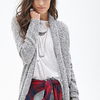 FOREVER 21 Marled Knit Cardigan Cream/Black