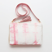 ALEGRA 3/ Dyed cotton & natural leather convertible cross body bag