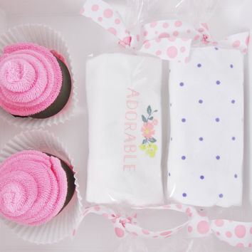 Unique Baby Girl Gift  - newborn month girl gift - floral - adorable - polka dot