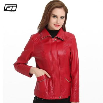Fitaylor 2018 Motorcycle Jacket Women Turn-down Collar Office Lady Embroidered Leather Jackets Woman Plus Sizie 6xl Coat Mujer