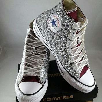 Bridal Converse- Wedding Converse- Bling   Pearls Custom Convers 059ef80c4