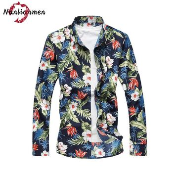 2017 Real Full Summer New Casual Hawaiian Shirt Men Slim Fit Long Sleeve Cotton Floral Camisa Masculina Chemise Homme Male
