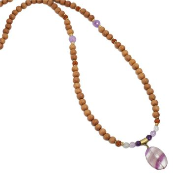 Fluorite and Sandalwood 'Healing and Clarity' Mala Necklace