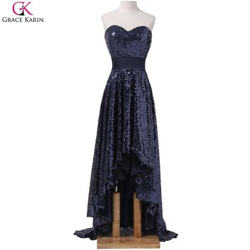 Glitter Navy Blue Prom Dresses Grace Karin Hi-low Strapless Real Photos Asymmetrical High Low Front Short Back Long Formal Dress