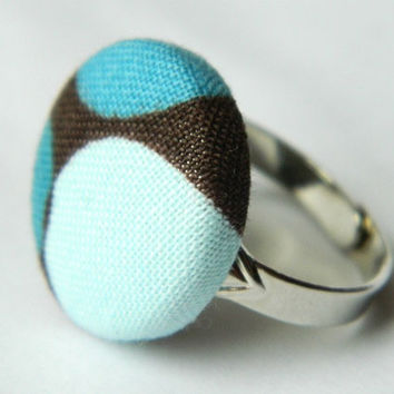 Fabric Button Ring Brown Light Blue Blue Circles by PushTheButtons