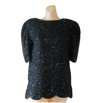 6fc2ceb64a64c Deadstock Women Holiday Shirt Sparkle Shirt Sparkly Shirt New Ye
