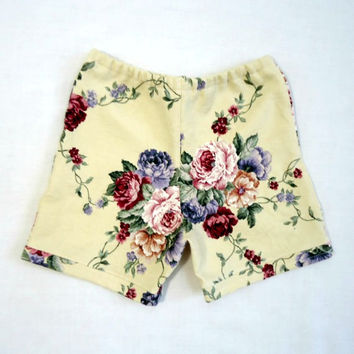 Girls Rose Print Shorts 5T 6T Upcycled Vintage Floral Fabric