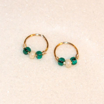Small 18 Gauge Cartilage Earrings, Teal/White Beaded Nose Ring, Nose Hoop, Ear Cuff, Helix Hoop, Nose Rings, Piercing Jewelry, Septum