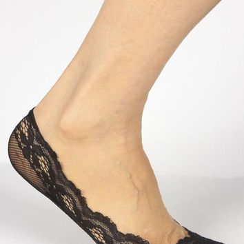 Best and Best's Sheer Hidden Shoe Liner in Pretty Scalloped Floral Lace and Rubber Grip Bottom