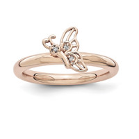 Sterling Silver Stackable Expressions Pink-plated Butterfly w/Diamond Ring