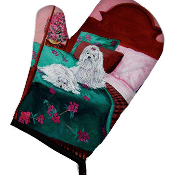 Maltese and puppy waiting on you Oven Mitt 7110OVMT