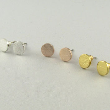 Disc Stud Earrings, Minimal Round Earrings /Sterling Silver, 18K Gold, or Rose Gold/ Disc Studs / Everyday Jewelry