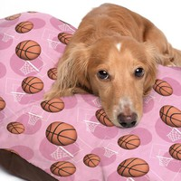 Pink Basketball Themed Pattern Pet Bed - 3 Sizes