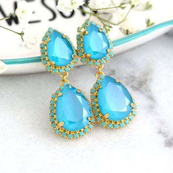 Blue Chandelier earrings, Turquoise Bridal Earrings, Ice Blue Bridal Earrings, Bridesmaids Blue Long Earrings, Azore Crystal Long Earrings