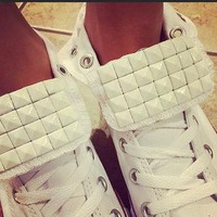 Custom White Studded White Converse All Stars - Chuck Taylors - ALL SIZES & COLORS!