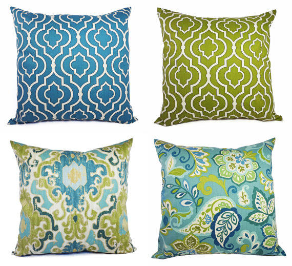 Decorative Pillow Cover Blue and Green from CastawayCoveDecor
