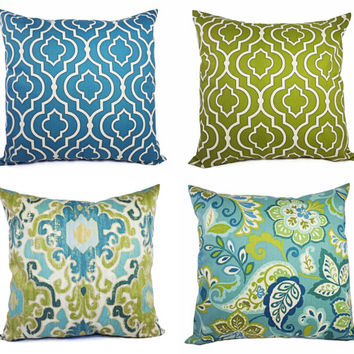 Decorative Pillow Cover Blue and Green - Throw Pillow Cover - Moroccan Trellis Pillow - Quatrefoil Pillow - Accent Pillow