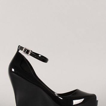 Bamboo Jelly Peep Toe Ankle Strap Wedge