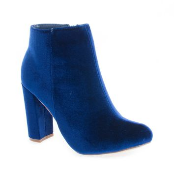 Kenzy4 Blue Velvet By Liliana, Almond Toe Velvet Chunky High Heel Ankle Booties