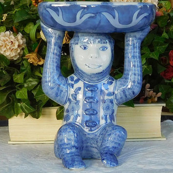 Vintage Cobalt Blue Monkey Soap Dish Bohemian Decor Boho