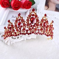 Vintage Prom Pageant Wedding Red Tiaras And Crowns 2017 Headband Hairband Bridal Rhinestone Pageant Tiaras Crowns Hair Jewelry