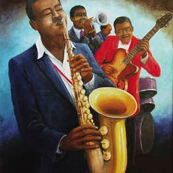 AFRICAN AMERICAN ART PRINT - THE MUSICIANS JAZZ POSTER