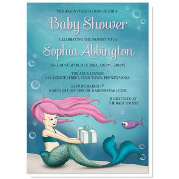 Under the Sea Mermaid Baby Shower Invitations