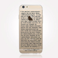 Transparent Great Gatsby iPhone Case - Transparent Case - Clear Case - Transparent iPhone 6 - Transparent iPhone 5 - Transparent iPhone 4