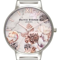 Olivia Burton Marble Floral Mesh Strap Watch, 38mm | Nordstrom