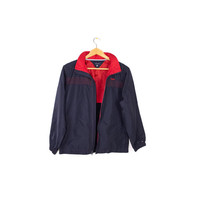 TOMMY HILFIGER windbreaker jacket - retractible hood - navy blue + red - basic -