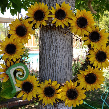Sunflower Grapevine Wreath - Spring - Monogramed