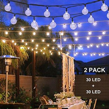 Solar Christmas String Lights for Outdoor Patio Lawn Landscape Garden Home Wedding Holiday decorations[19.7feet - 6m - 30LED-White 2-pack]