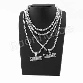 "ICED OUT SAVAGE SILVER PENDANT W/ 24"" ROPE /18"" TENNIS CHAIN NECKLACE"