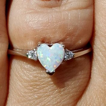 .925 Sterling Silver White Opal Heart Kids and Ladies ring size 3-12