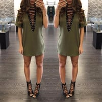 2017 New Summer T Shirt Dress 2017 Women Deep V Neck Lace Up  Sexy Bodycon Bandage Party Dresses Casual T-Shirt Dress Vestidos-0331