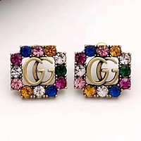 GUCCI 2020 New Color Diamond Double G Letter Female Stud Earrings