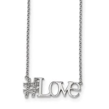 Sterling Silver Rhodium-plated CZ 18in Hashtag Love Necklace