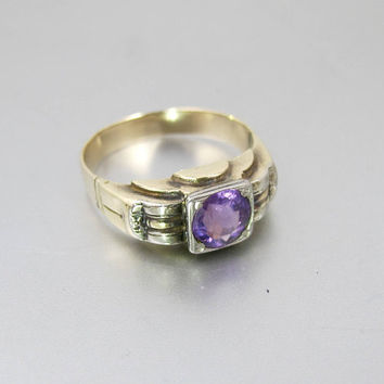 Antique Gold Amethyst Ring. Art Deco Alternative Engagement Wedding Ring. 14K Rose Gold. Unisex Ring. February Birthstone Jewelry.