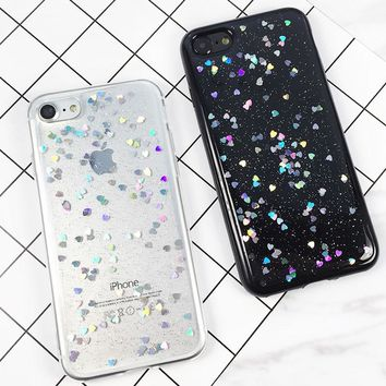 iPhone 7 6 6s Plus Glitter Phone Cases Case Luxury Shining Love Heart Powder Phone Back Cover Cases Clear Coque Carcasas New