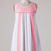 Embroidered Sleeveless Dress - Pink and White