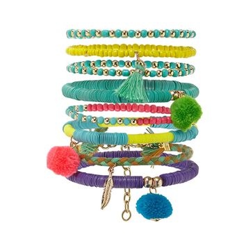 Pom Pom Beaded Bracelet Set