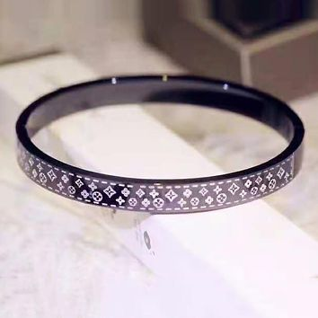 LV Louis Vuitton Newest Popular Girls Boys Personality Stainless Steel Bracelet Black