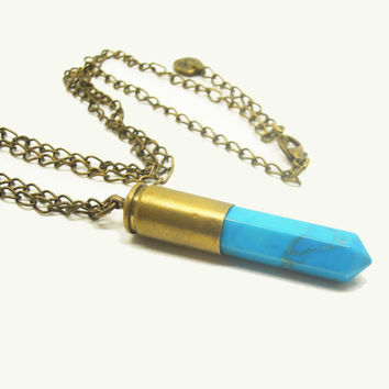 1PC Healing Crystal Natural Gemstone  Blue Howlite Point Pendulum Retro Bullet Necklace w/Alphabet Charm Birthday Gift