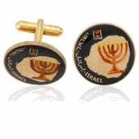 Israel Menorah On Map Coin Cuff Links-CLC-CL505
