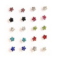 20x Stainless Steel body jewelry gems flower ring Piercing nose rings and studs JW2670
